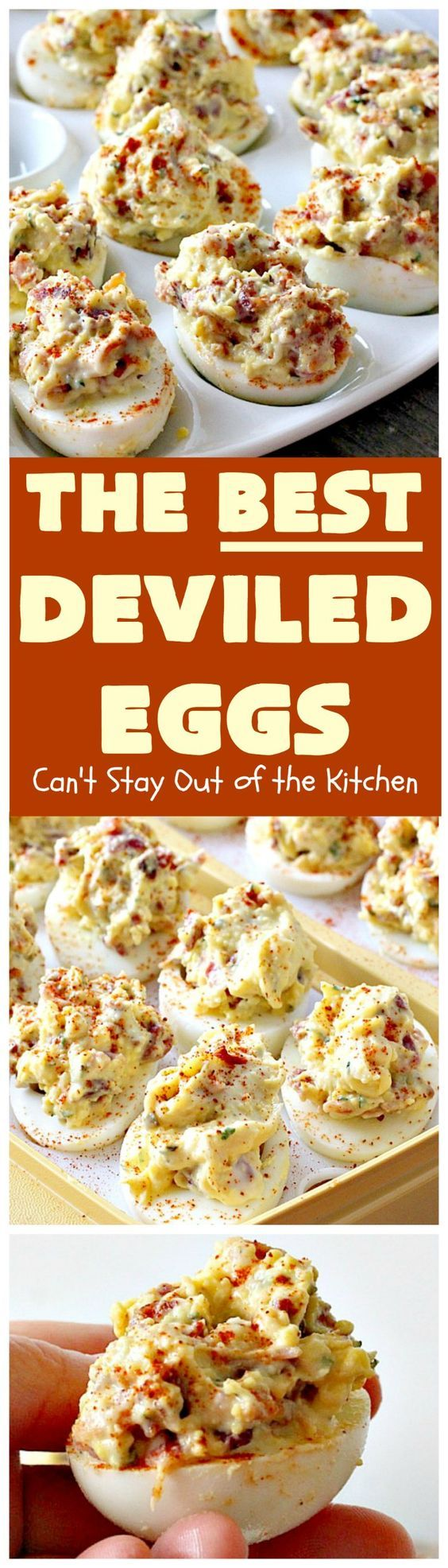 ► Best Deviled Eggs Recipe: eggs, bacon, prepared mustard, flat leaf parsley, sugar, pepper, Miracle Whip, fresh chives and paprika.