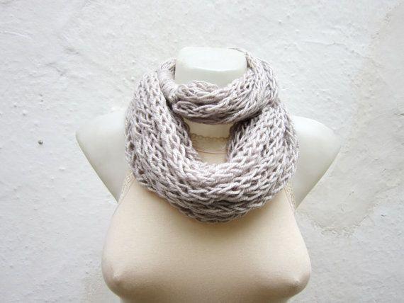 infinity scarf Finger Knitting Scarf Cream   by scarfnurlu on Etsy