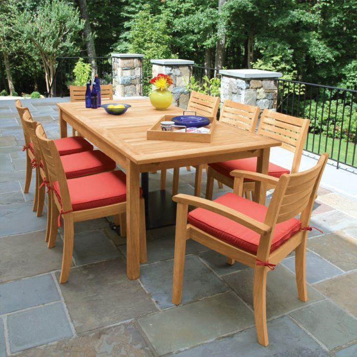 Calypso Teak Butterfly Extension Table With Calypso Stacking Arm And Sidechairs Extension Table Teak Dining Table Table Extension