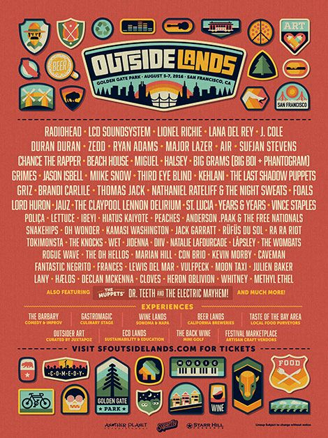 Outside Lands 2016 - Radiohead, Lana Del Rey, Major Lazer, Chance the Rapper, Big Grams, Grimes, Third Eye Blind, Griz, Peaches, Snakehips, Rufus, Tokimonsta, Marian Hill....