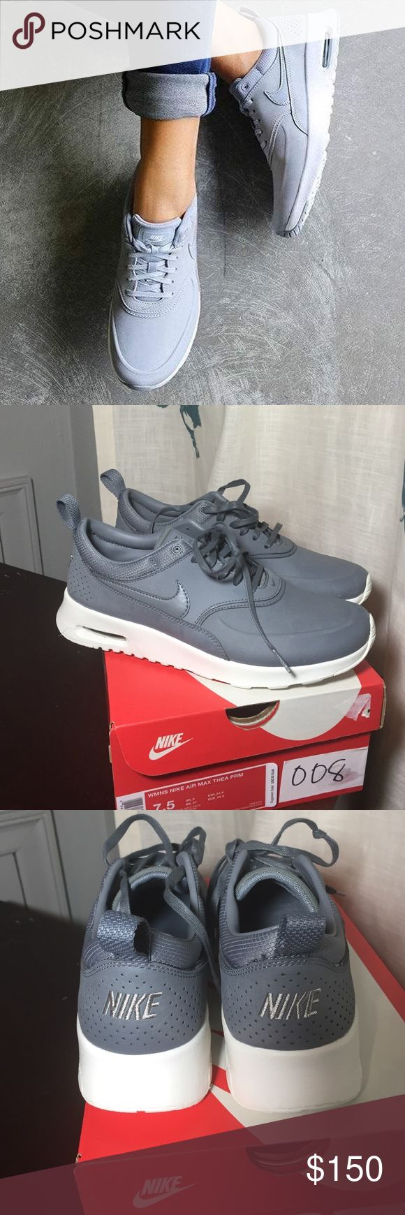 Nike Air Max Thea Premium  Authentic Nike Air Max Thea Premium ..size 7.5..Grey. So cute, true to size, reviews said they ran a little narrow so I sized up, but they are too big and I'm a true 7. Can't find in my size now;( My loss..your gain Nike Shoes Athletic Shoes
