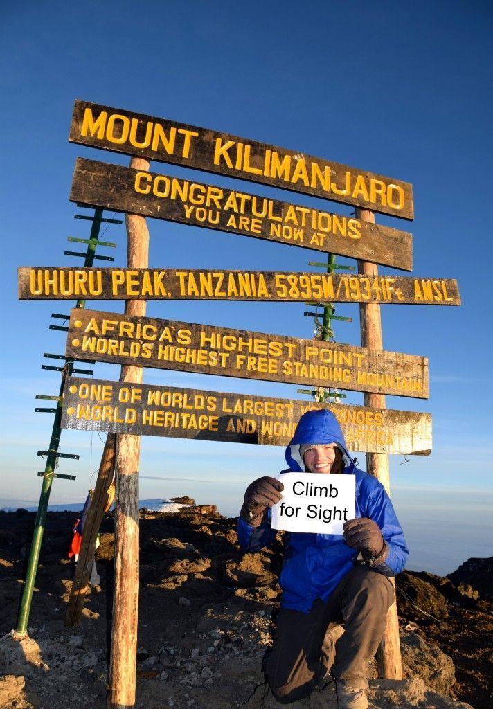 Climb Kilimanjaro: Ethan @ Uhuru Peak of Mount Kilimanjaro in Tanzania! Read about Our Charity Climb of Mount Kilimanjaro for Climb for Sight