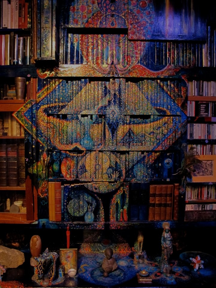 Grail-Chalice of wisdom and beauty painted upon book spines in Leigh J McCloskey's 3D painted studio library & wonder study, The Hieroglyph of the Human Soul