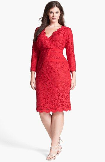 Tadashi Shoji Lace & Tulle Sheath Dress (Plus Size) available at #Nordstrom