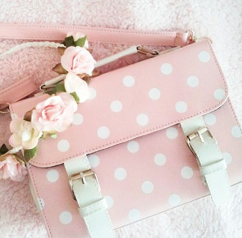 Baby pink spotty satchel and flower crown