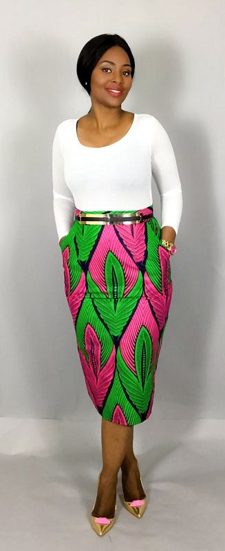 This high waist skirt is handmade from the finest African print fabric.