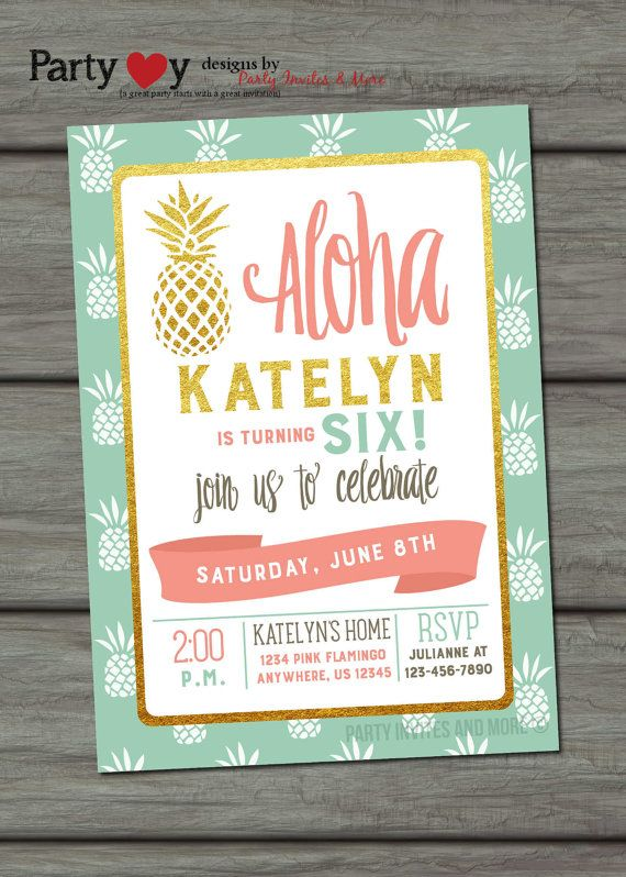 Aloha Birthday Invitation Luau Birthday by PartyInvitesAndMore