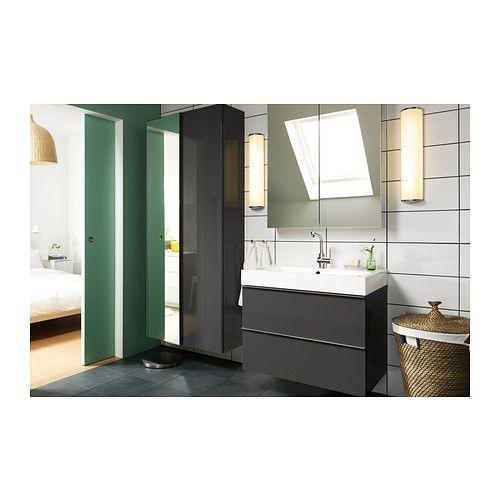 Custom Glass Cabinet Doors Ikea ~ GODMORGON BRÅVIKEN Sink cabinet with 2 drawers, gray high gloss gray