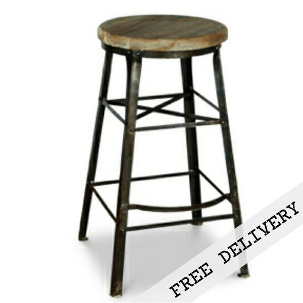 Bar Stool - Round Iron and Solid Timber