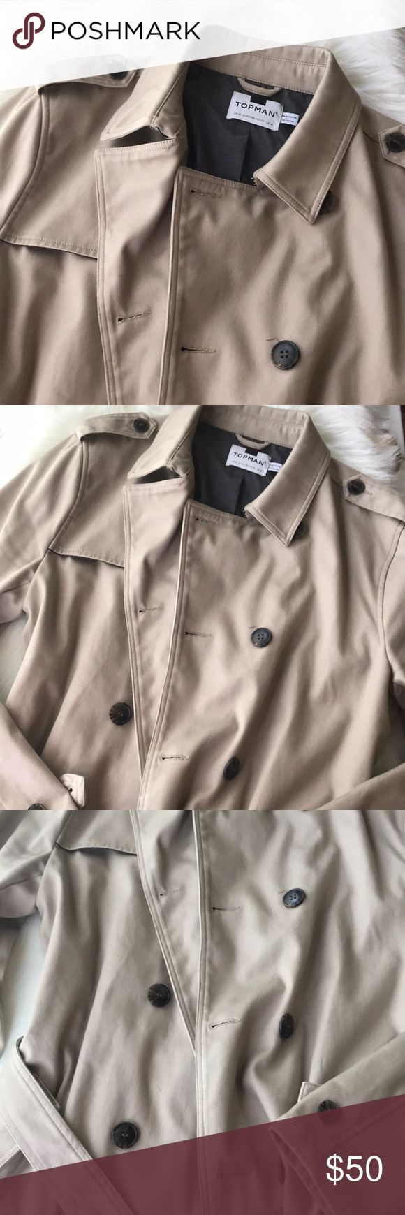 TopMan Trench Coat 🌹🧥 🌹UNISEX  🌹Excellent condition  🌹Size US.M  🌹Adjustable from waist  🌹I ship Monday➡️Saturday  🌹No exchange or returns  🌹All sales are final 🌹Retails for $110+ Topman Jackets & Coats Trench Coats