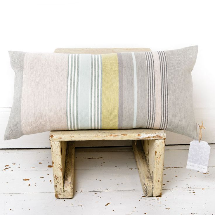 I designed these gorgeous striped cushions after being inspired by old umbrella stripes.  60cm x 30cm apple & grey duck feather cushion pad included. Available from www.newhousetextiles.co.uk