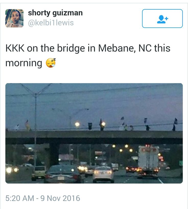 The KKK march ten minutes from where I live on the morning after Trump was elected.  I feel ill and enraged.