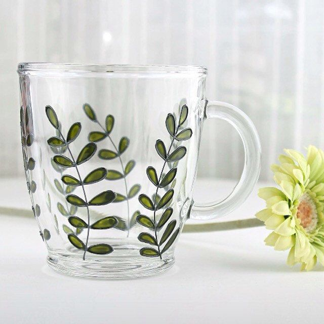 First item of a new collection - green foliage glass mug/botanical mug - ready to ship