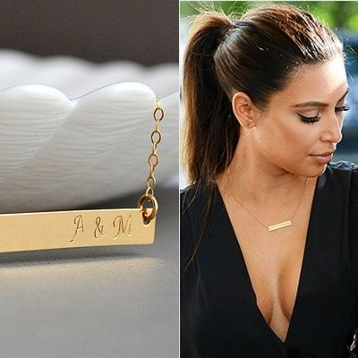 Gold Bar Necklace, Nameplate Necklace, Kardashian Necklace, Name Necklace, Personalized, Initial, Silver Bar Necklace, Celebrity Inspired