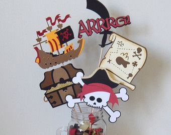 Pirate Centerpiece with Skull Treasure Chest  Argggghh and