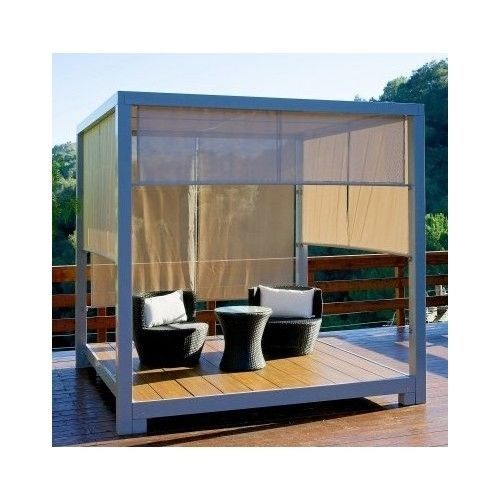 Modern Iron Gazebo Tent Yard Backyard Square Contemporary Outdoor Lounge Relax