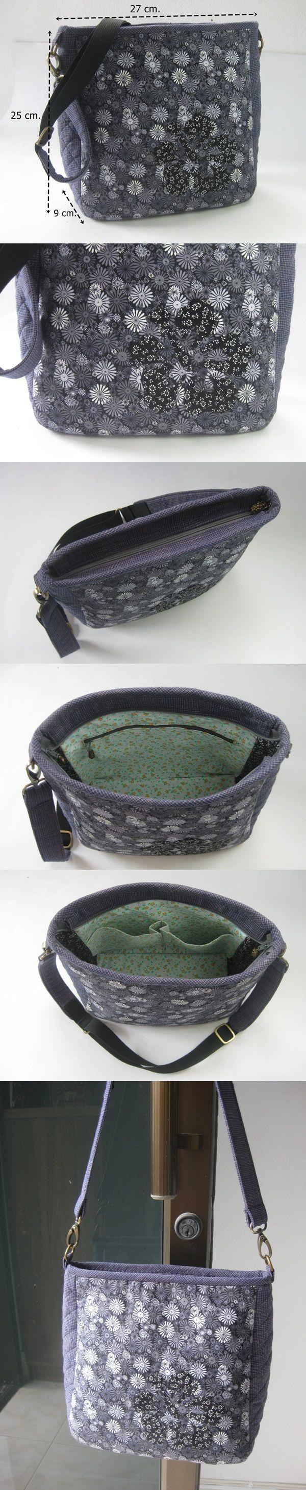 Saço em tecido com alça de couro muitodos prático para passeio