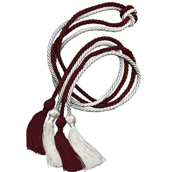 Alpha Phi Graduation Cords - Maroon and White