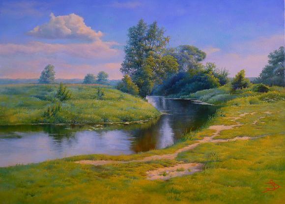 Там, где река по бархатному лугу , катит задумчиво прохладные струи..., автор Bлад Сафронов. Артклуб Gallerix