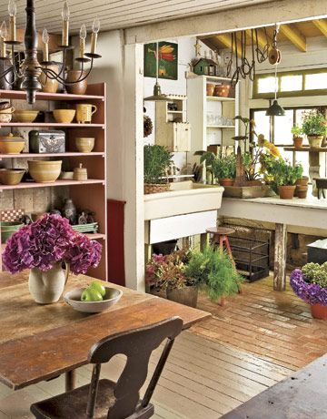 An ideal potting shedKitchens, Sunrooms, Modern Gardens Design, Plants, Greenhouses, Gardens Spaces, Pots Sheds, Dreams Gardens, Gardens Room
