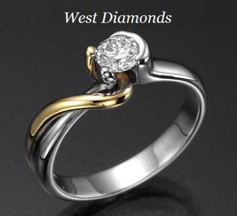 fehérarany, arany és gyémánt kombináció
