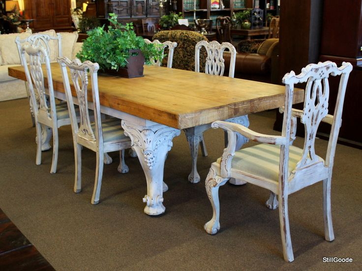 Very unique dining set consisting of matched distressed white Chippendale style chairs and a very large table with butcher block top, carved repurposed piano legs.  #OnTheShowroomFloor #Unique #Dining #Set #Distressed #Chippendale #Chairs #Table #Butcher #Block #Piano #Legs #StillGoode