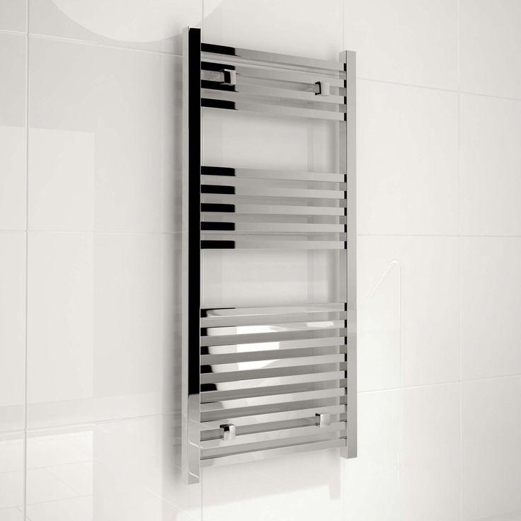 Kudox Sevilla Straight Contemporary Towel Warmer Silver Chrome (H)974 (W)450 mm   Departments   DIY at B&Q