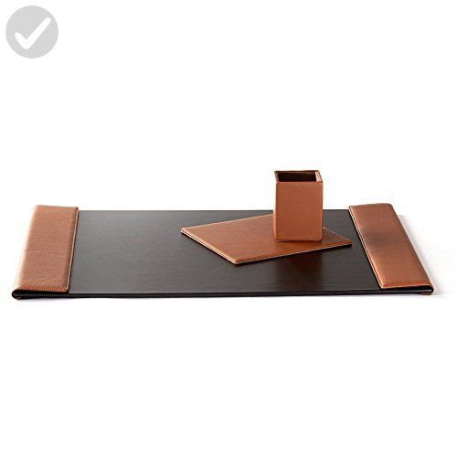 Desk Accessories Set - Full Grain Leather - Cognac (brown) - Refine your workspace (*Amazon Partner-Link)