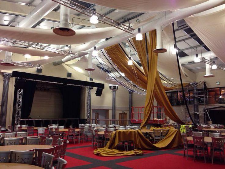 Ceiling draping Fabric Theatre. Venue - Dallas Burston Polo Club.