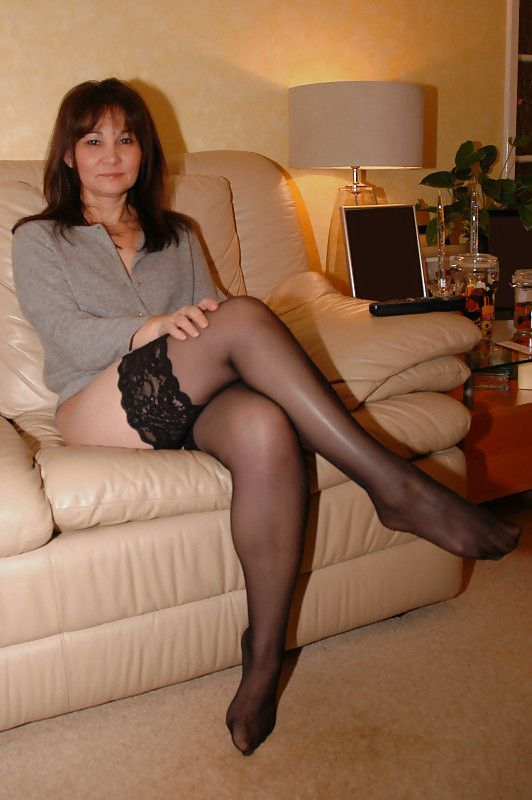 Hot silky sheer pantyhose strip
