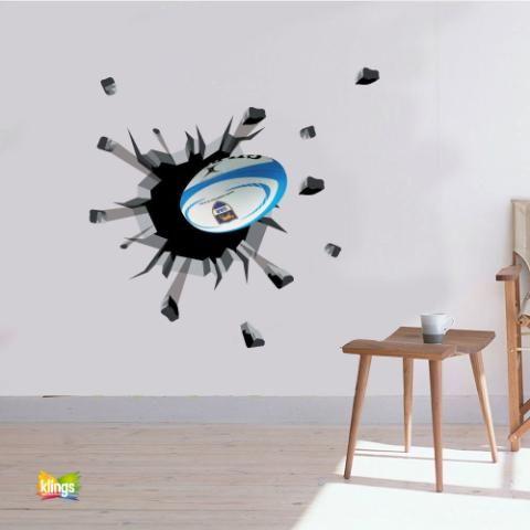 Vinilos Decorativos Ball Rugby, pelota de Rugby que rompe pared WALL STICKER DECOR