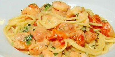 Spaghetti with prawns in a creamy tomato sauce recipe by Chef Gordon Ramsay