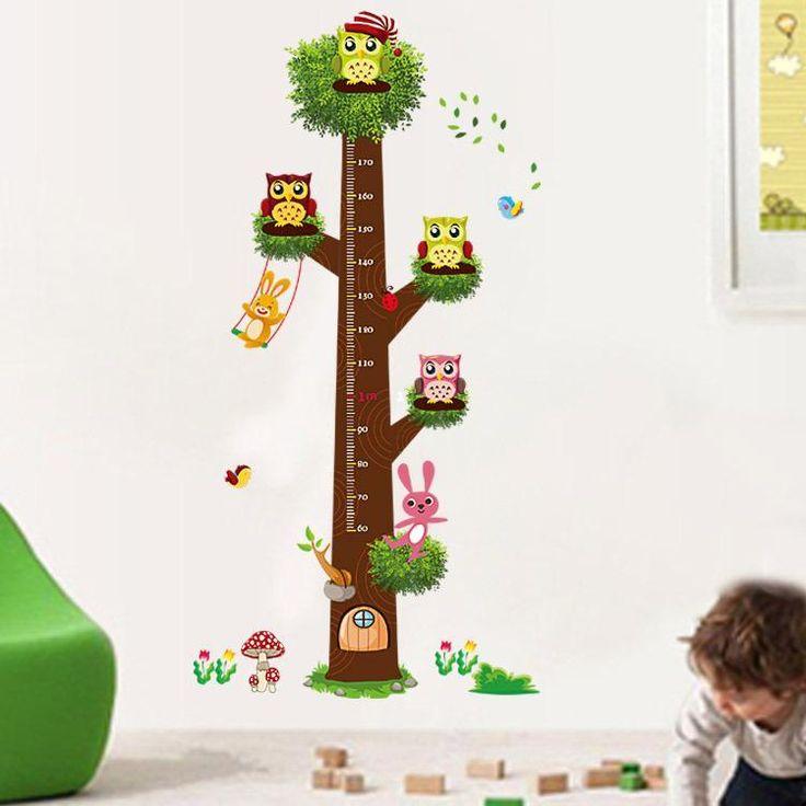 Muursticker boom groeimeter met uilen voor in de kinderkamer