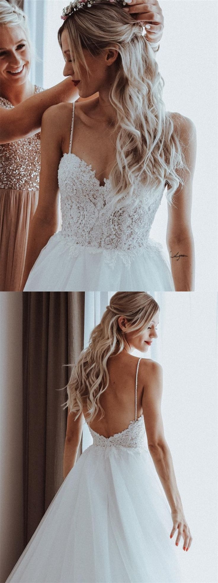 A-line spaghetti straps backless sweep train wedding dress with lace beads