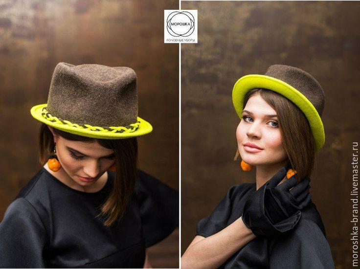 """Купить Шляпа """"Федора-лайм"""" - комбинированный, фетровая шляпа, шляпа с полями, шляпа женская"""