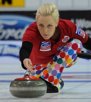 norwegian women keep run of loud curling pants alive at world championship