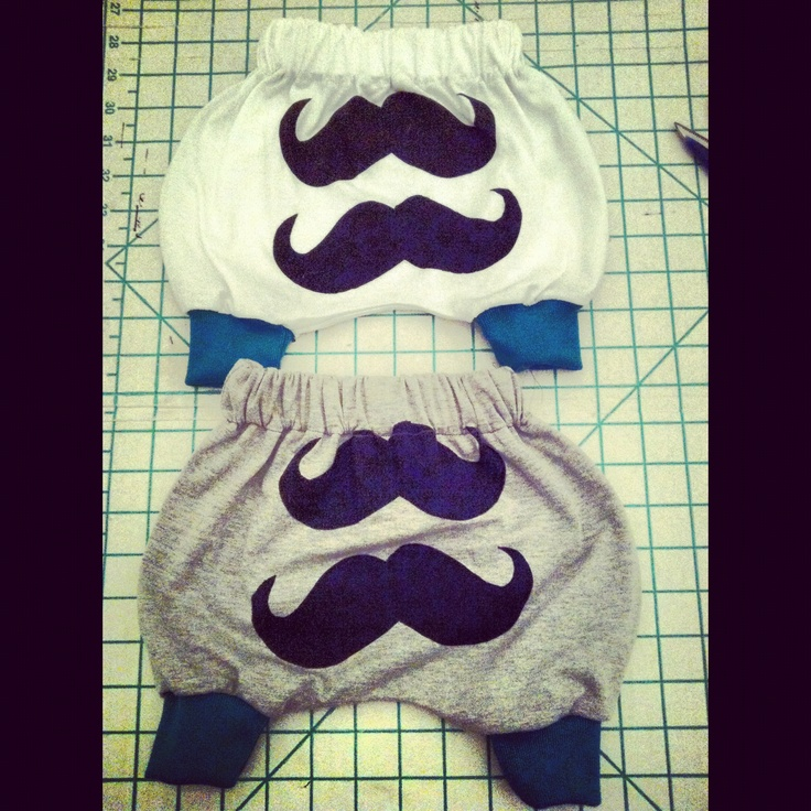 Baby pants I made with moustache print I did myself ❤