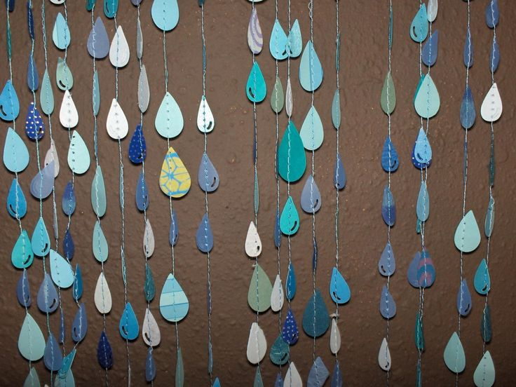 sewn paper raindrops: Paper Garlands, Window Display, Decoration, Sewn Paper, April Shower, Cute Ideas, Paper Raindrop, Rain Drop, Baby Shower