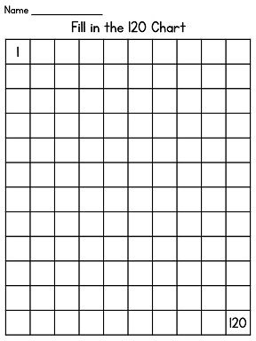 120 Chart to fill in and other great hundreds chart materials