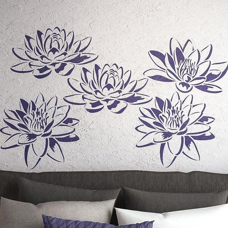 Lotus Flower Wall Stencils- Set Of 3 Flower Stencils- Wall Stencils