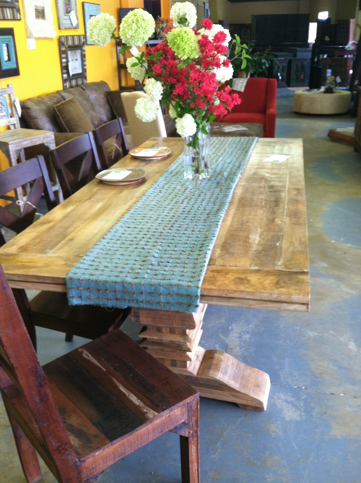 Dining Table With Reclaimed Wood Farm Style Top And Trestle Base The Green Door Company