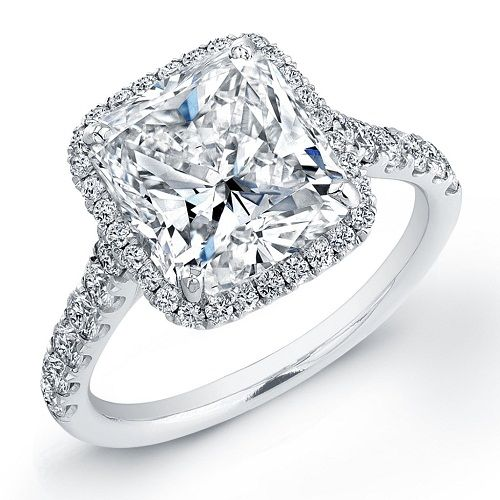 Cushion cut engagement rings pave
