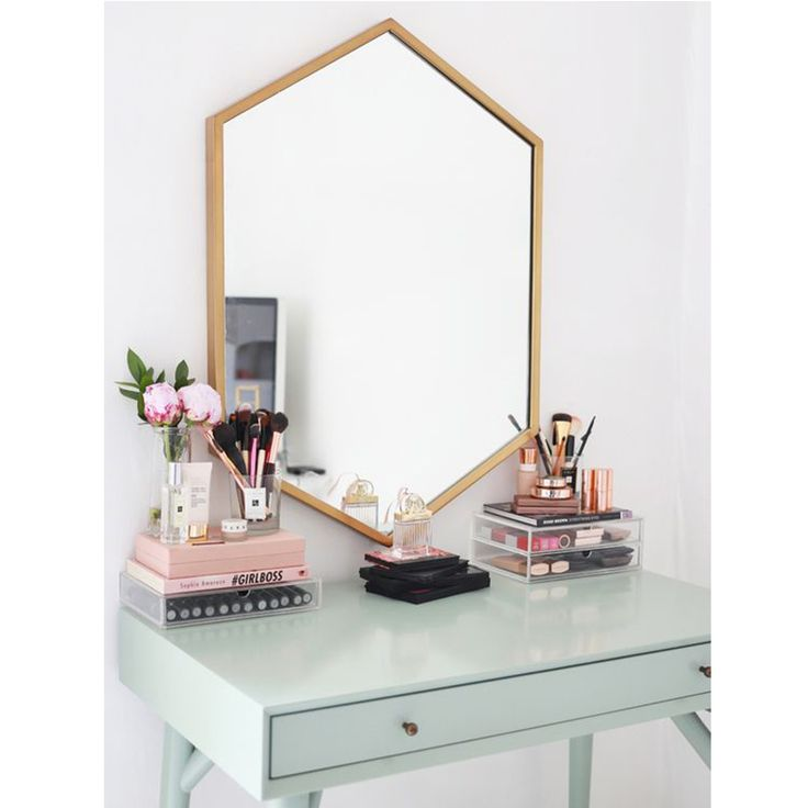 pinterest portrait desk gold mirror