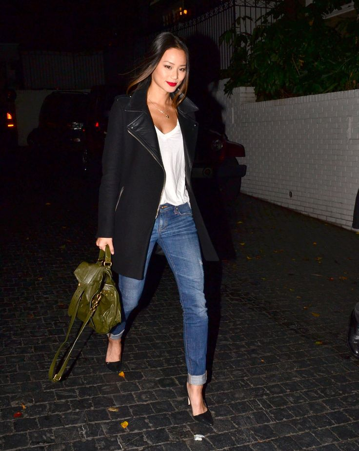 Behold, This Week's Most Glam — Kerry, Anne, Jessica, and More: Jamie Chung gave us the coolest rendition of jeans and the white tee with a moto-style coat, Alice + Olivia pumps, and a gorgeous green PS1 in tow.