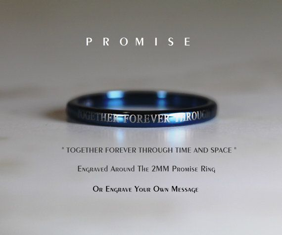 Blue Or Silver Doctor Who 2mm Tungsten Promise Ring With DW Quote Engraved Outside