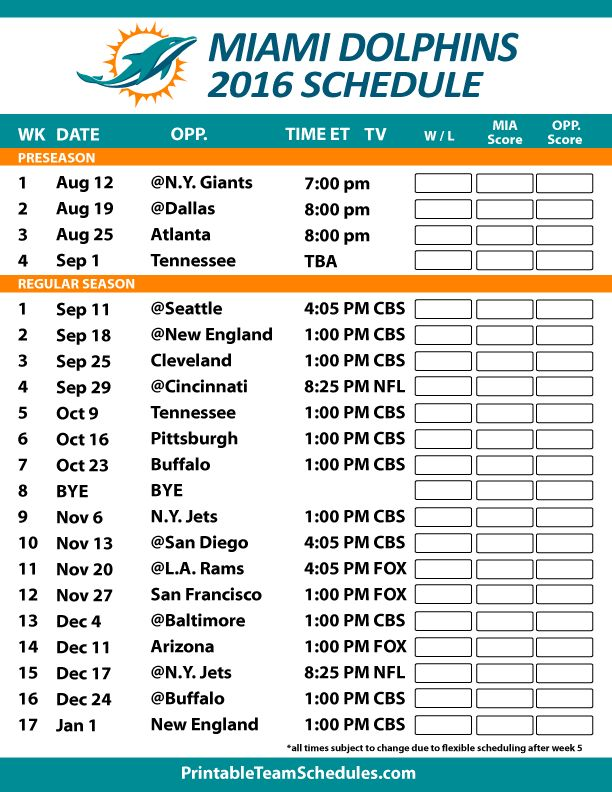 Miami Dolphins Football Schedule. Print Here -http://printableteamschedules.com/NFL/miamidolphinsschedule.php