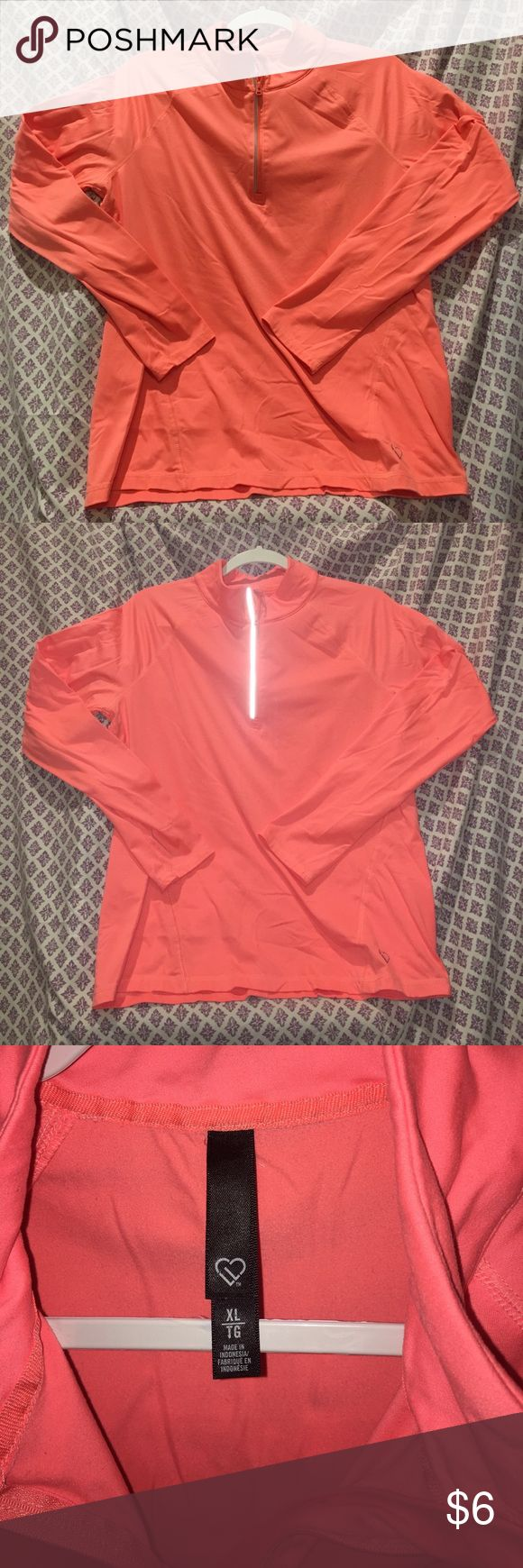 Peach workout top Quarter zip peach workout top. Zipper features reflexive strip for visibility when out at night. Great for layering under t-shirts or over workout tanks Aeropostale Tops Sweatshirts & Hoodies