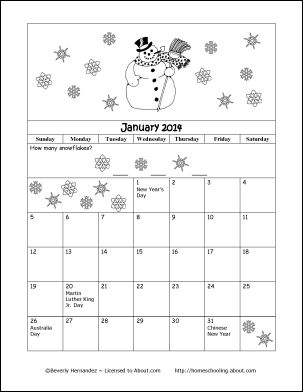 2014 Calendar Year - Printable Coloring Calendar