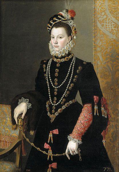 Isabel de Valois, tercera esposa de Felipe II de España, por Sofonisba Anguissola. Hija de Enrique II de Francia y Catalina de Médici. Ella estaba prometida brevemente Infante Carlos de España, pero por razones de Estado se vio obligado a casarse con el padre del príncipe, el rey Felipe II de España.