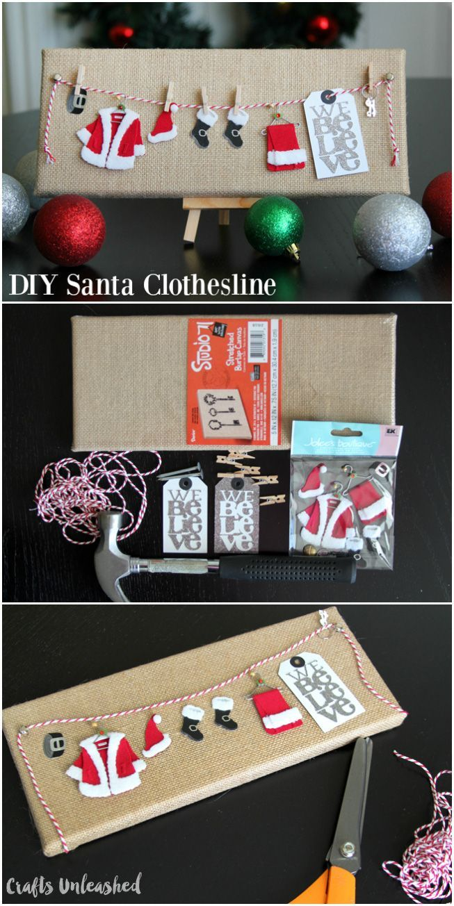 Looking for a unique Christmas table emblishment? Courtesy of Crafts Unleashed, this DIY Santa clothesline décoration will add cheer to any space!